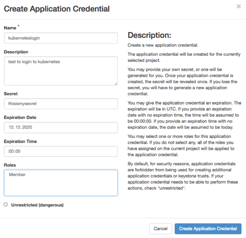 Enter the data to create an application credential