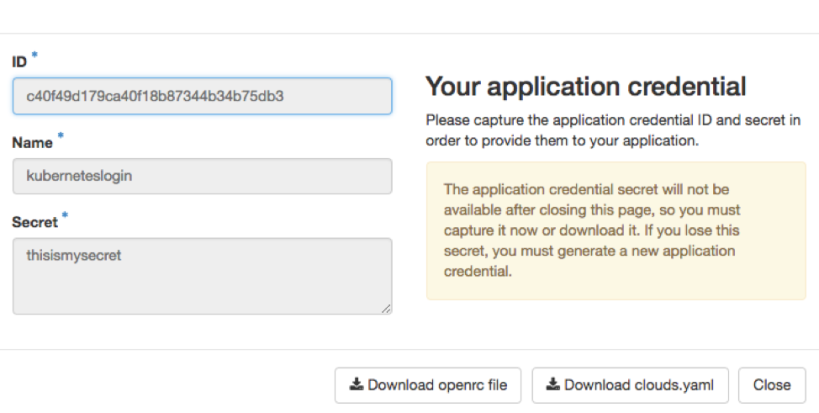 Download the openrc file to store your application credential